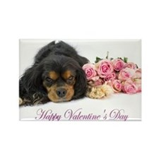 Happy Valentines Day With Spaniel Rectangle Magnet