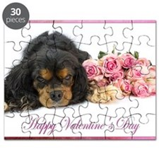 Happy Valentines Day With Spaniel Ad Pink R Puzzle