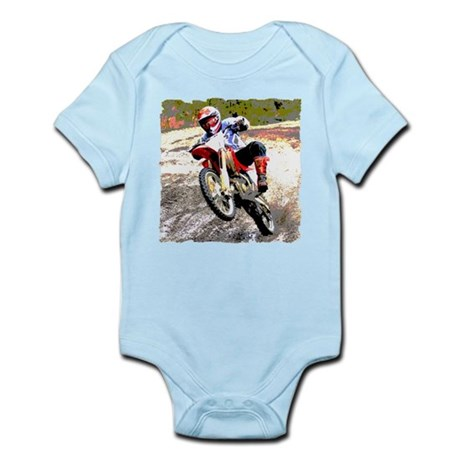Dirt bike wheeling in mud Infant Bodysuit