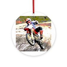 Dirt bike wheeling in mud Ornament (Round)