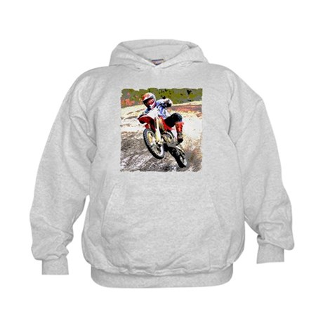 Dirt bike wheeling in mud Kids Hoodie
