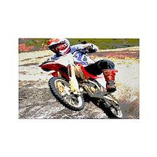 Dirt bike wheeling in mud Rectangle Magnet