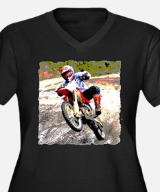 Dirt bike wheeling in mud Women's Plus Size V-Neck