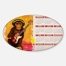 funky monkey calendar Sticker (Oval)