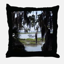 Beaufort River Through Palmettos and  Throw Pillow
