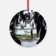 Beaufort River Through Palmettos an Round Ornament