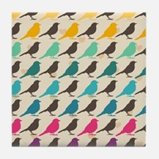 Colorful Birds Tile Coaster