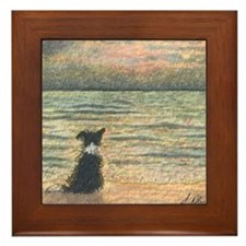 A Border Collie dog says hello to the  Framed Tile