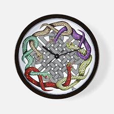 Celtic snakes white Wall Clock