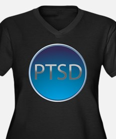PTSD Women's Plus Size Dark V-Neck T-Shirt