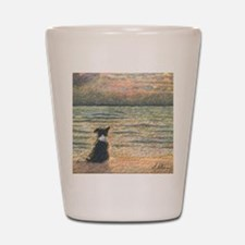 A Border Collie dog says hello to the m Shot Glass