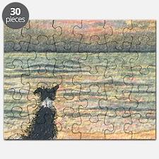 A Border Collie dog says hello to the morni Puzzle