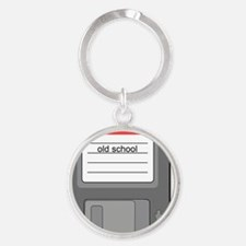 old school floppy disk retro 80s te Round Keychain