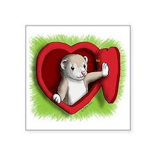 """Heart door Square Sticker 3"""" x 3"""""""