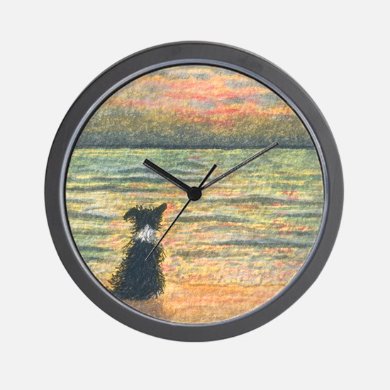 A Border Collie dog says hello to the m Wall Clock