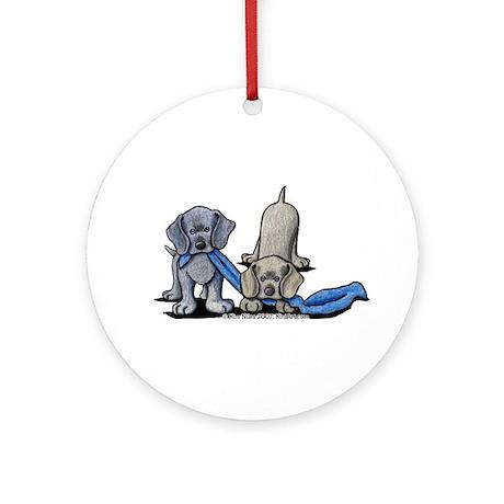 Weimaraner Pups Ornament (Round)