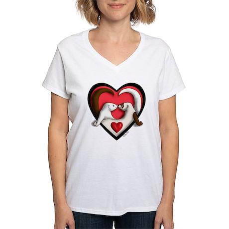 Ferrets in Heart Women's V-Neck T-Shirt