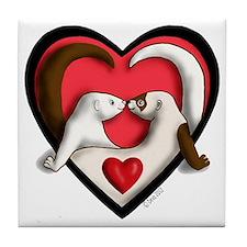 Ferrets in Heart Tile Coaster