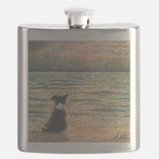 A Border Collie dog says hello to the mornin Flask