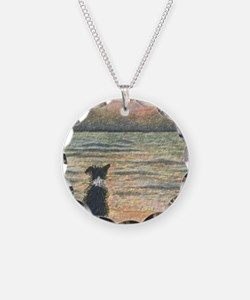 A Border Collie dog says hel Necklace