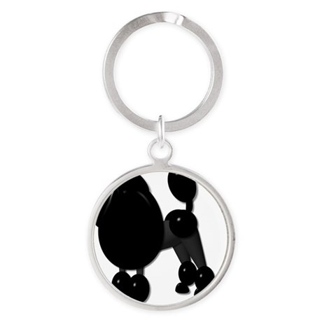 TINY POODLE PACK BLACK POODLE Round Keychain
