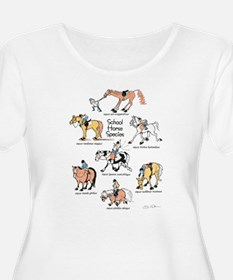 School Horse Species Plus Size Scoop Neck