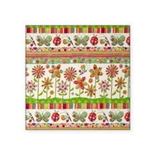 """Butterfly Flowers Square Sticker 3"""" x 3"""""""