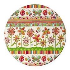 Butterfly Flowers Round Car Magnet