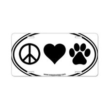 Peace Love Paws Black Aluminum License Plate