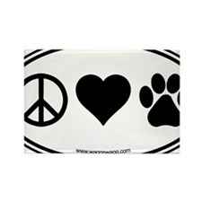 Peace Love Paws Black Rectangle Magnet