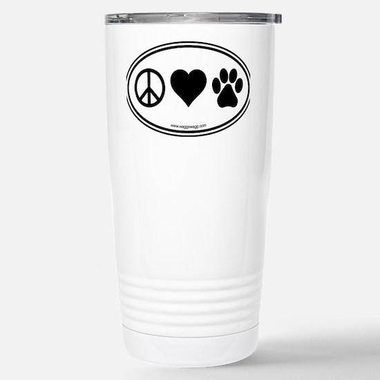 Peace Love Paws Black Stainless Steel Travel Mug
