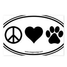 Peace Love Paws Black Postcards (Package of 8)