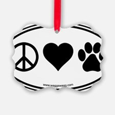 Peace Love Paws Black Ornament
