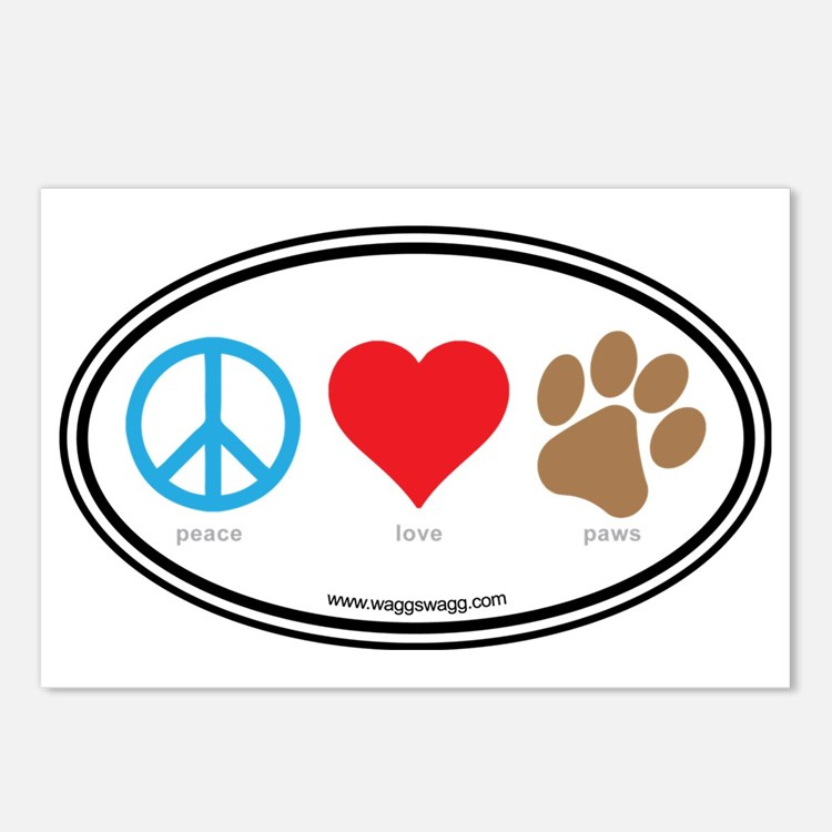Peace Love Paws Colors Postcards (Package of 8)