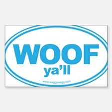 WOOF Yall Blue Sticker (Rectangle)