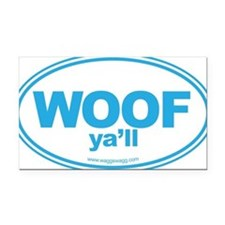WOOF Yall Blue Rectangle Car Magnet