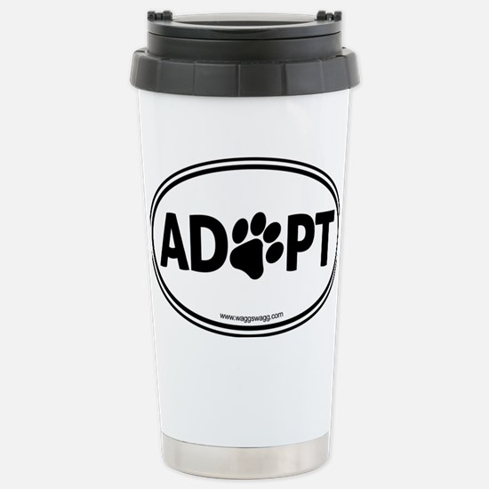 Adopt Black Stainless Steel Travel Mug