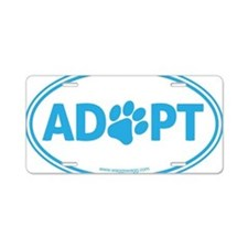 Adopt Blue Aluminum License Plate