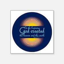 "Genesis 1 1  Bible Verse Su Square Sticker 3"" x 3"""