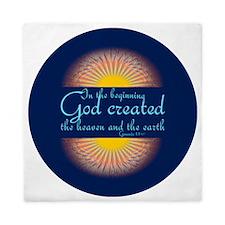 Genesis 1 1  Bible Verse Sunrise Queen Duvet