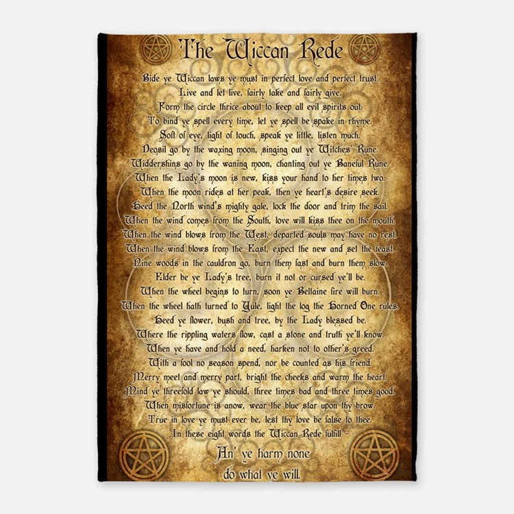 Wiccan Rede 5 x7 Area Rug. Wicca Bedding   Wicca Duvet Covers  Pillow Cases   More