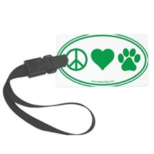 Peace Love Paws Green Luggage Tag
