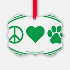 Peace Love Paws Green Ornament