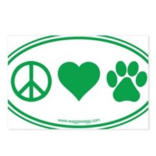 Peace Love Paws Green Postcards (Package of 8)