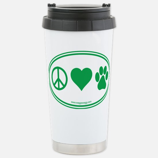 Peace Love Paws Green Stainless Steel Travel Mug