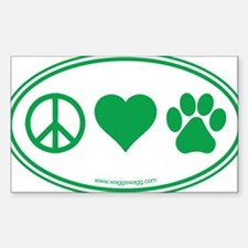 Peace Love Paws Green Bumper Stickers