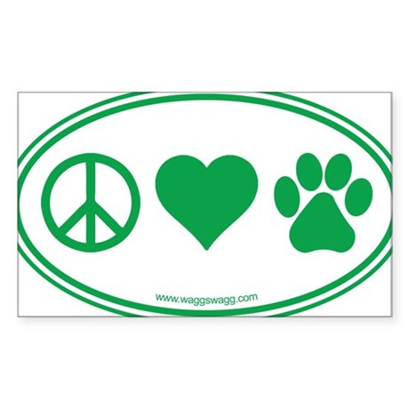 Peace Love Paws Green Sticker (Rectangle)