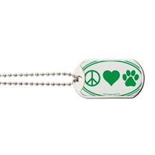 Peace Love Paws Green Dog Tags