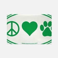 Peace Love Paws Green Rectangle Magnet