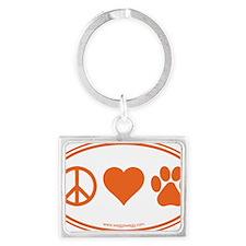 Peace Love Paws Orange Landscape Keychain